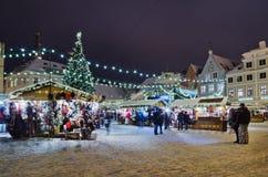 Der Weihnachtsmarkt in Tallinn Lizenzfreie Stockfotografie