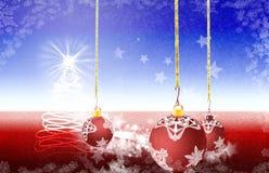 Der Weihnachtszeitbaum und -licht, die vom Himmel kommen lizenzfreie abbildung