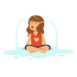 Der weinende Mädchencharakter, der auf dem Boden in einer Pfütze von Rissen sitzt, vector Illustration vektor abbildung