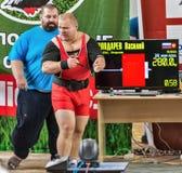 Der 2014 Weltcup, der AWPC in Moskau powerlifting ist Stockbild