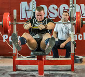 Der 2014 Weltcup, der AWPC in Moskau powerlifting ist Lizenzfreies Stockfoto