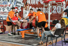 Der 2014 Weltcup, der AWPC in Moskau powerlifting ist Lizenzfreie Stockfotos