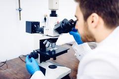 Der Wissenschaftler, der durch ein Mikroskop in einem Labor schaut, prüfend probiert und prüft stockfotografie