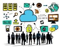 Der Wolken-Datenverarbeitungsgeschäftsleute aspirations-Team Concept Stockfotografie