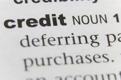 Der Wort-Kredit-Abschluss oben stockbild