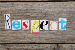 Der Wort Respekt stockfoto