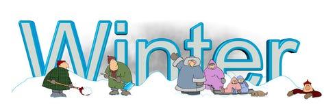 Der Wort Winter mit den Leuten, die im Schnee spielen Stockbilder