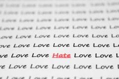 Der Worthaß, Liebe geschrieben. Lizenzfreie Stockfotografie