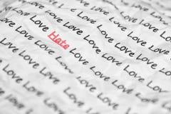 Der Worthaß, Liebe geschrieben. Stockfotos