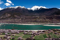 Der Yarlung Zangbo Fluss Landschaft beider Querneigungen Lizenzfreie Stockbilder