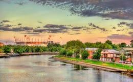 Der Yarra-Fluss mit Melbourne-Cricketplatz - Australien lizenzfreies stockfoto