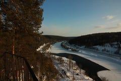 Der Yermak-Felsen Panoramablick des Sivla-Flusses Urals-Region Permskiy Kray, Russland stockfotografie