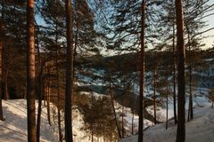 Der Yermak-Felsen Sivla-Fluss Urals-Region Permskiy Kray Russland stockfoto