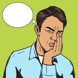 Der Zahnschmerzen-Pop-Art des Mannes leidender Retro- Vektor Stockbild