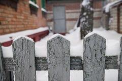 Der Zaun auf Winter Lizenzfreie Stockbilder