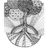 Der Zen-Verwicklung des Hintergrundes Hand gezeichneter einfarbiger stilisierter Baum, Vektorillustration auf Lager Lizenzfreies Stockfoto