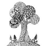 Der Zen-Verwicklung des Hintergrundes Hand gezeichneter einfarbiger stilisierter Baum, Vektorillustration auf Lager für Netz, für Stockfotos