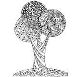 Der Zen-Verwicklung des Hintergrundes Hand gezeichneter einfarbiger stilisierter Baum, Vektorillustration auf Lager für Netz, für Lizenzfreie Stockfotografie