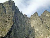 Der zentrale Abschnitt der Schleppangel-Wand Trolltind in Norwegen- - Europa-` s nur vertikale Meile von stein- größtenteils über lizenzfreies stockbild