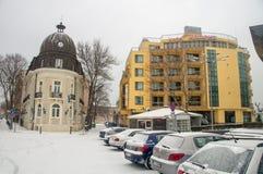 Der zentrale Platz in Pomorie, Bulgarien Lizenzfreies Stockbild