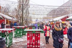Der zentrale Weihnachtsmarkt in Kiew Lizenzfreie Stockfotografie