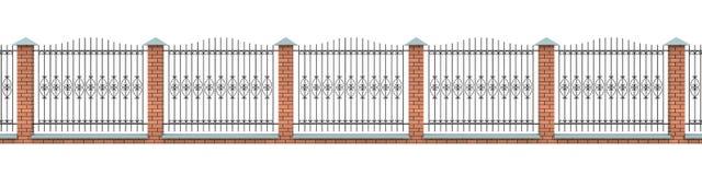 Der Ziegelsteinzaun mit dem geformten Eisenrasterfeld Lizenzfreie Stockbilder