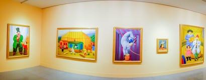 Der Zirkus, malende Ausstellung durch Fernando Botero Stockbild