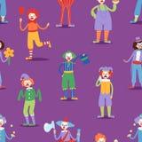 Der Zirkusmannclownerie des Karikaturclowncharakters Künstler-Vektorillustration des lustigen Kostüms bunten freundlichen männlic Lizenzfreie Stockfotografie