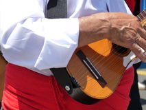 """Der zitronengelbe Inselbewohner, der traditionelle 5 spielt, reihte das Volksinstrument auf, das genannt wurde ein """"timple"""" Lizenzfreies Stockfoto"""