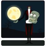 Der Zombie gegen den Mond Lizenzfreies Stockfoto