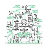 Der Zoo - Linie Designillustration Stockfoto