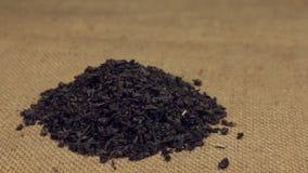 Der Zoom, nähernd ist ein Stapel des schwarzen Tees der trockenen Blätter, der auf Leinwand liegt Nahaufnahme stock video