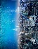 Der Zusammenfassung Wasser-Stadthintergrund seitlich Stockbilder