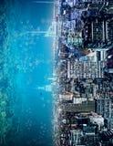 Der Zusammenfassung Wasser-Stadthintergrund seitlich stock abbildung