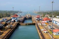 Der zweite Zugang des Panamakanals vom Pazifischen Ozean Lizenzfreie Stockfotos