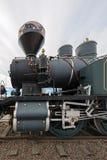 Der Zylinder, die Zwischenüberschrift und die Ventilstößel eines finnischen Dampf locomoti lizenzfreie stockfotos