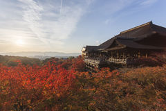 dera遗产日本kiyomizu京都列出了寺庙科教文组织世界 免版税库存照片