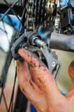 Deragliatore rotto della parte posteriore della bicicletta Fotografie Stock
