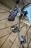 Deragliatore rotto della parte posteriore della bicicletta Immagini Stock