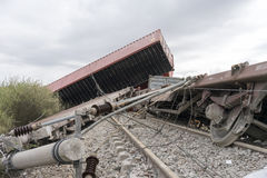 Derailed train coaches at the site of a train accident at the Ge Stock Photography