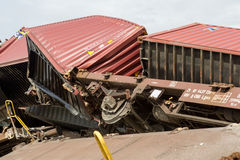 Derailed train coaches at the site of a train accident at the Ge Stock Photo