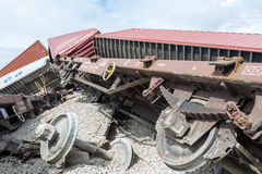 Derailed train coaches at the site of a train accident at the Ge Royalty Free Stock Photos