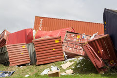 Derailed train coaches at the site of a train accident at the Ge Royalty Free Stock Photography
