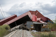 Derailed train coaches at the site of a train accident at the Ge Stock Image