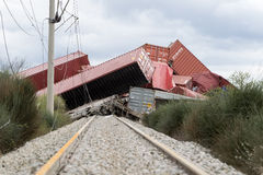 Derailed train coaches at the site of a train accident at the Ge Royalty Free Stock Image