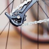 Derailleur e catena posteriori della bici di montagna Fotografia Stock