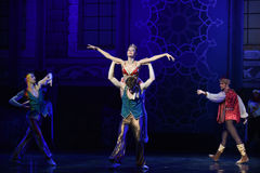 """Derailment was found- ballet """"One Thousand and One Nights"""". Ballet One Thousand and One Nights is based on the fairy tale with the same name in the Arabic Royalty Free Stock Photography"""