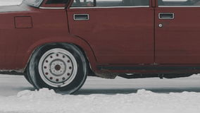 Derby car Drifting. Winter snow from under the wheels. Slow motion stock footage