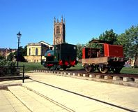 Derby Cathedral and old train. All Saints Cathedral with locomotive in the foreground, Derby, Derbyshire, England, UK, Western Europe royalty free stock photos