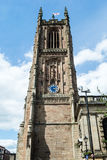Derby Cathedral Tower B. England, Derby - 27 June 2016: Derby Cathedral Tower B vertical photography stock image